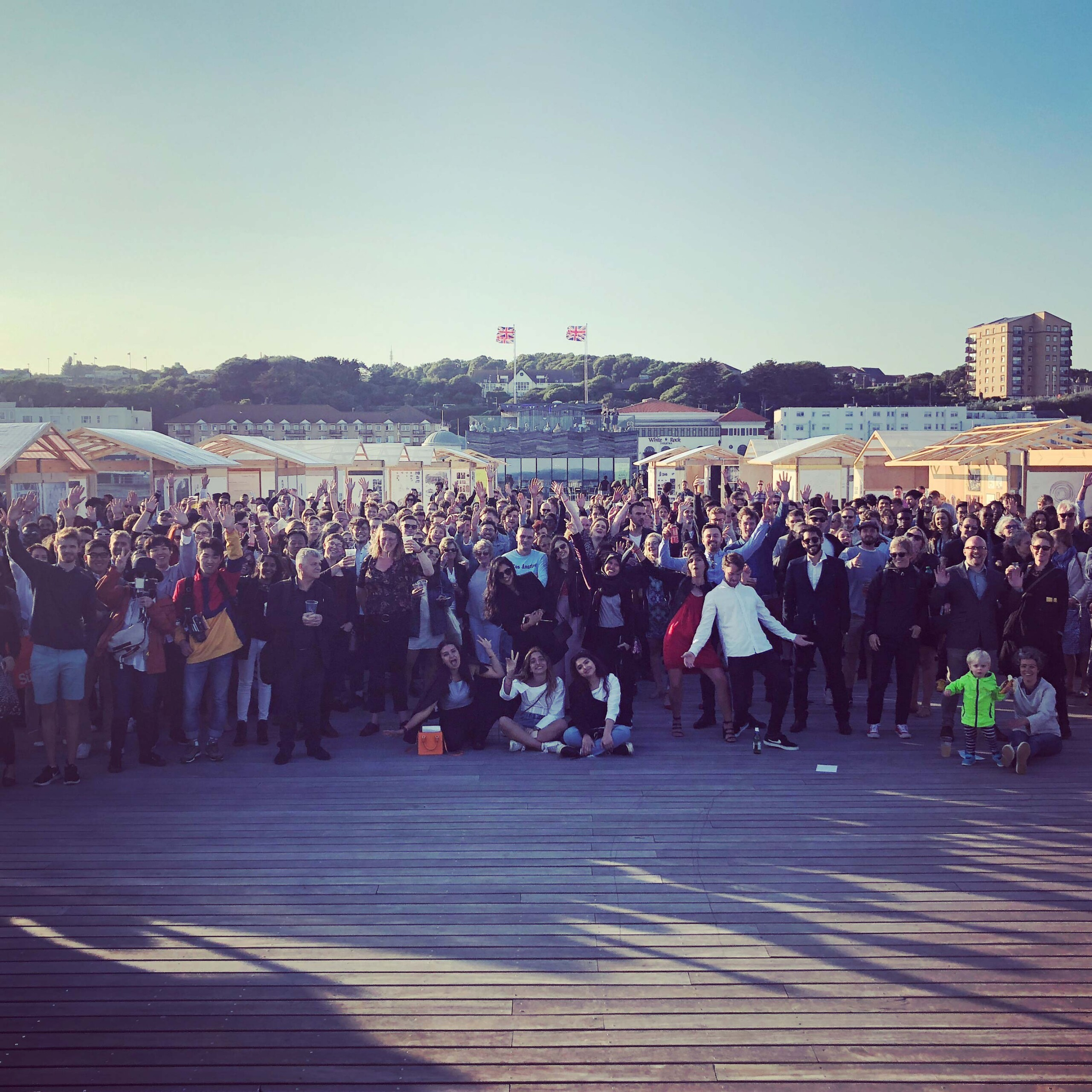 Students on the pier