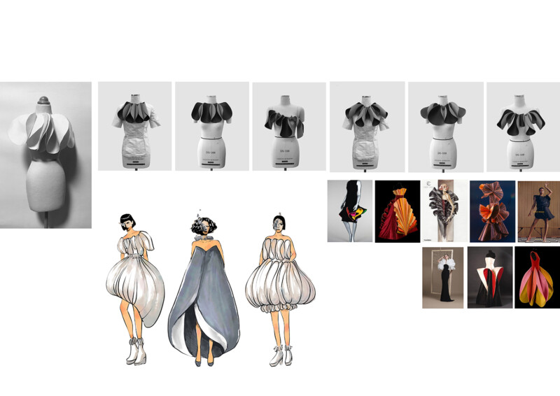 Images of experimentation with dress form and illustrations