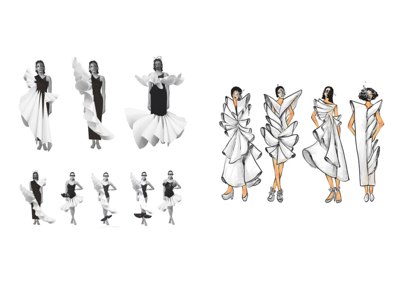 images of experimentations and illustrations of dress form