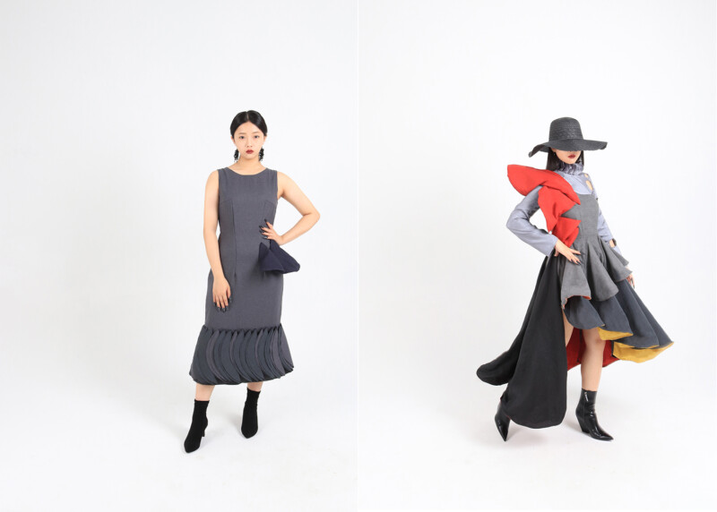 girl in grey dress and girl in black hat and grey, orange and yellow dress