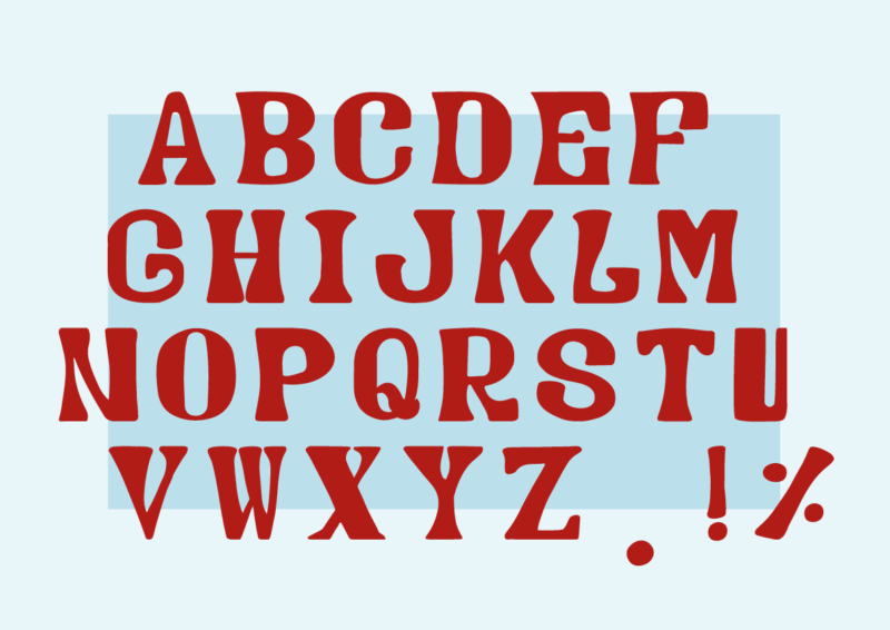 Image is of a new typeface design: red letters of the alphabet on a blue background
