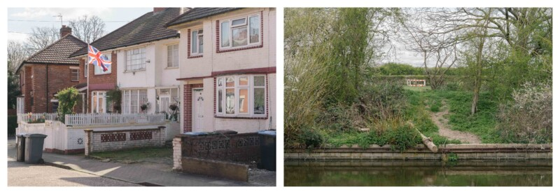 images of edge of canal with work barrier in middle and a semi-detached house with white painted brick and a union jack flag on a pole