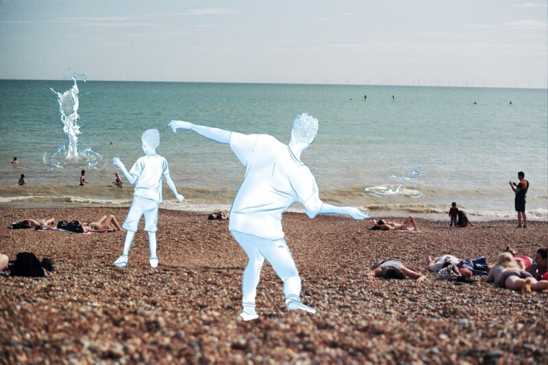 digital montage of a beach with people