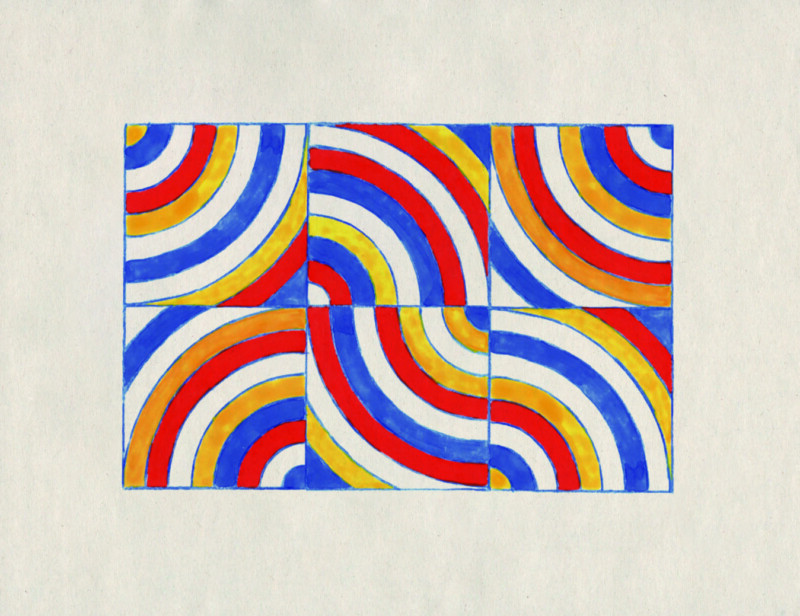 red, yellow, blue and white curved pattern