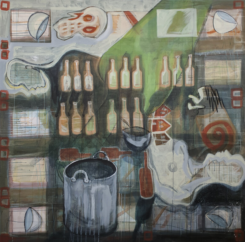 A layererd, detailed painting depicting bottles and figurative shapes amongst other forms