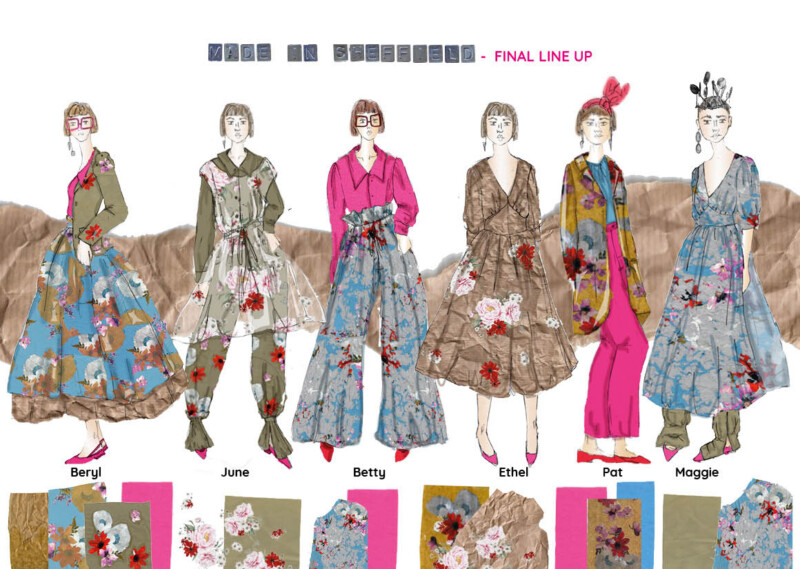 """Illustration of female figures wearing various dress designs and jewelry, with fabric samples. At the top it reads """"Made in Sheffield - Final Line up"""""""