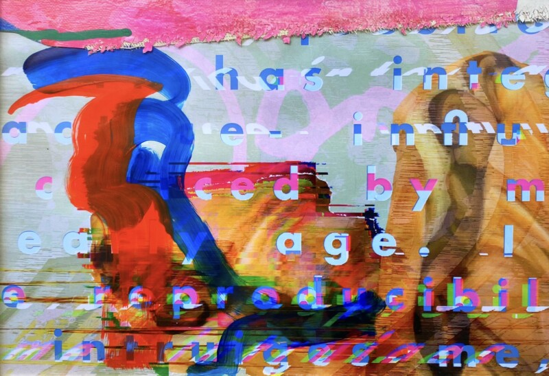 Collage with digital text and hand-painted elements