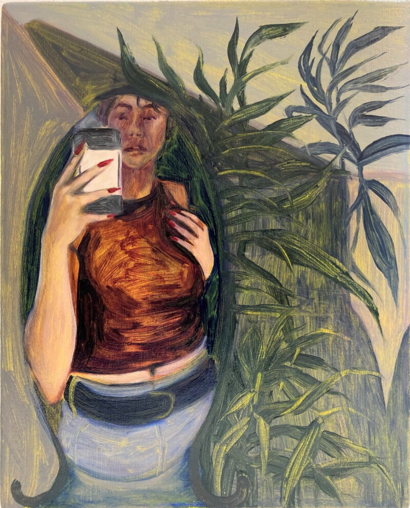 Painting of a woman holding a phone next to a plant