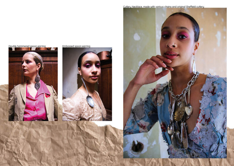 Photo montage of three images of women wearing dresses partly made from paper with jewelry made from cutlery