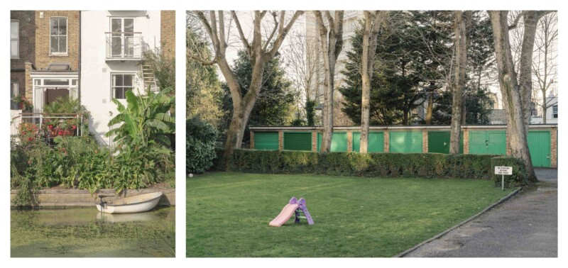 images of a boat in water at the back of gardens and an image of a pink slide on grass infront of a row of green garages