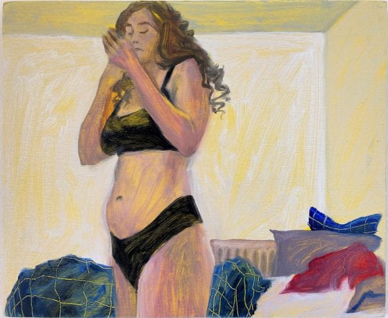 Painting of a woman wearing underwear in a home setting