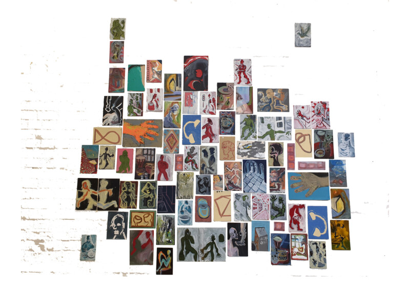 An image created by numerous small paintings hung together closely on a wall