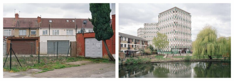 image of brown and grey garage doors and an image of a building in front of a large pond