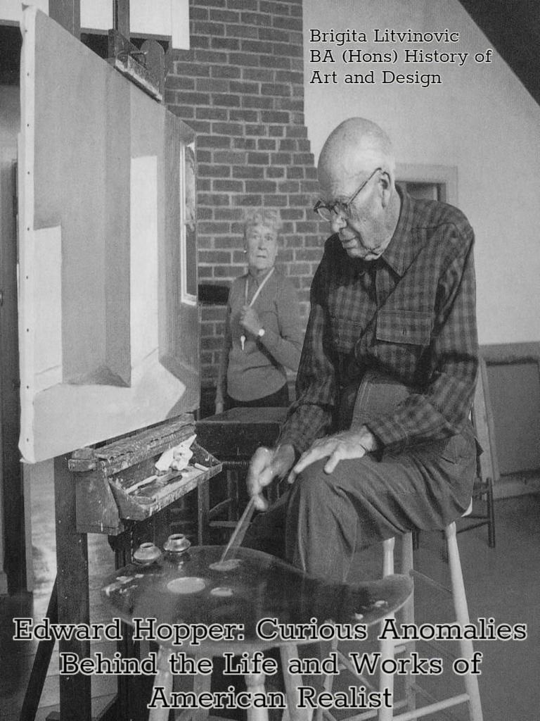 man sitting on stool painting, black and white image