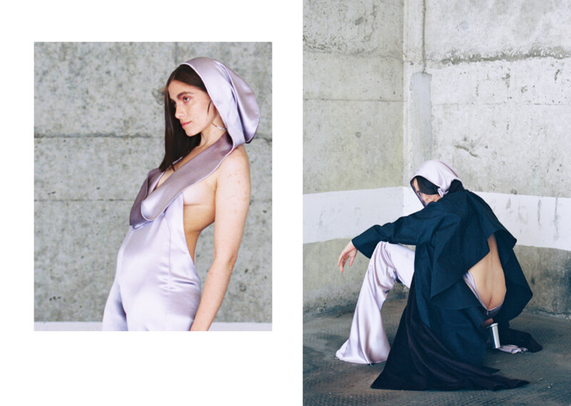 Two photos of a model wearing a blue cape and a loose fitting hooded lilac garment