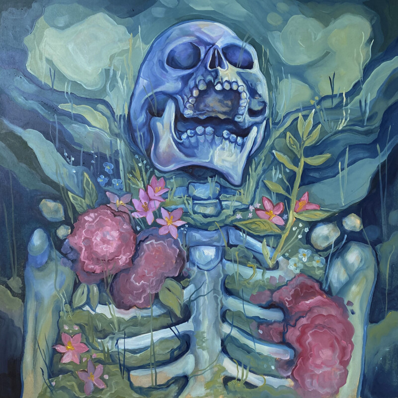 Painting of a skeleton covered in flowers
