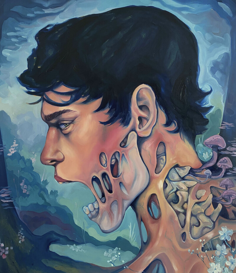 Painting of a man in profile screaming as fungus grows from his neck