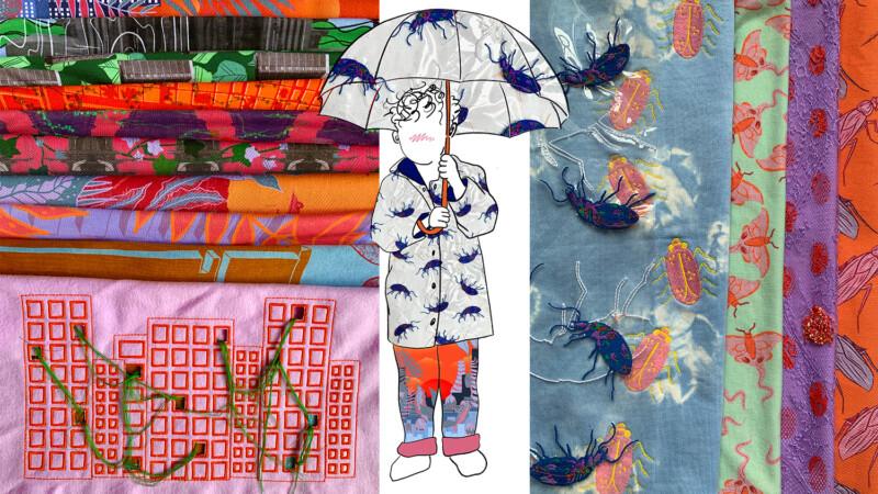 Digital Collage showcase textiles