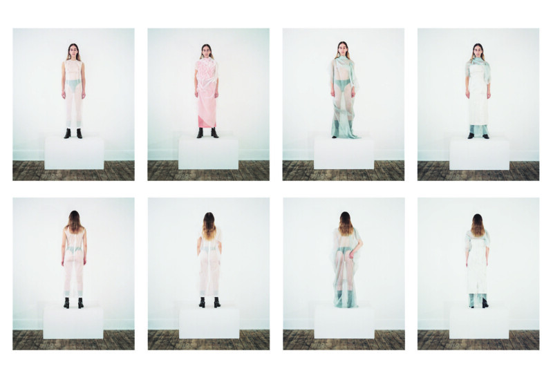 images of person wearing various see through garments