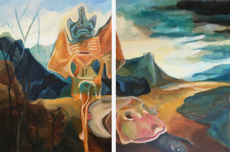 Painting of fish-like creature and other standing mythical-type creature in painterly landscape
