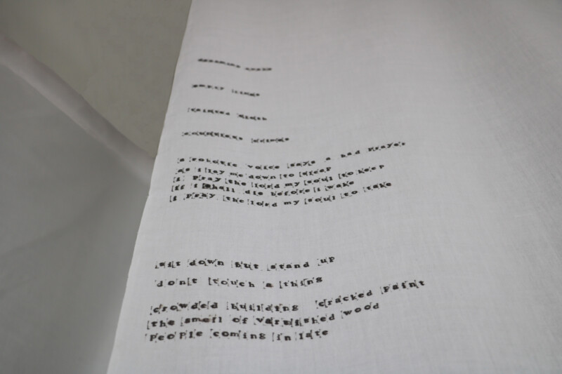 Close up of white sheet with text on it