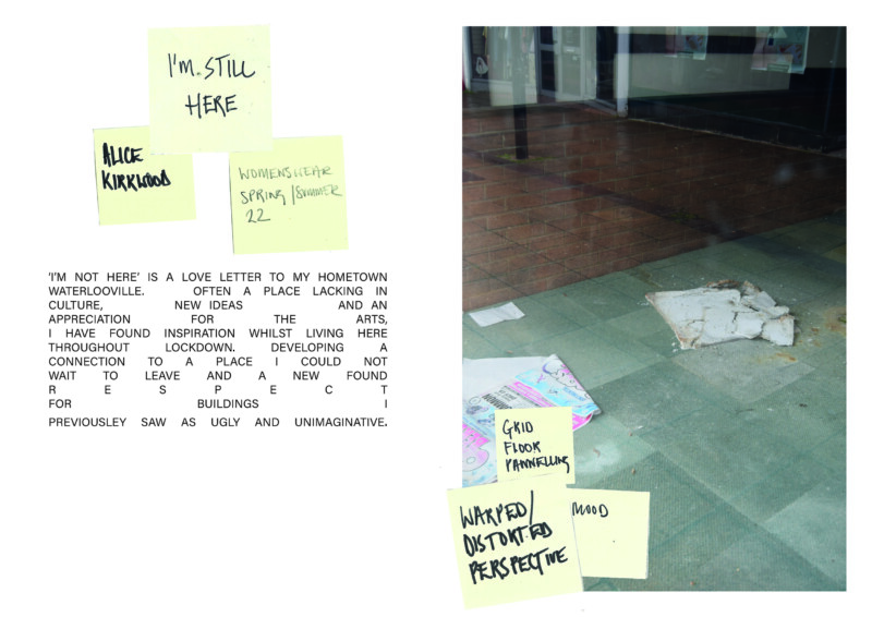 image of floor and wall with broken material and news paper on it. Post it notes on top of the image and text