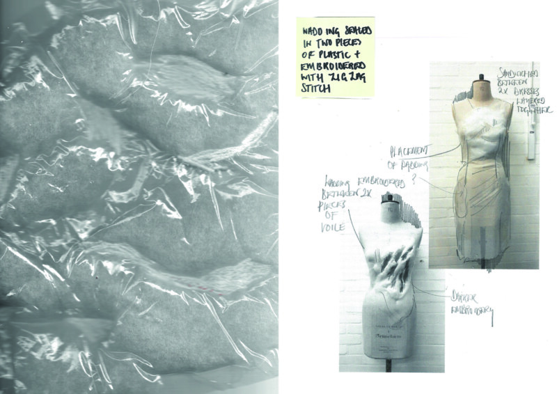 image of mannequins with pencil writing pointing out details with large image of plastic over material