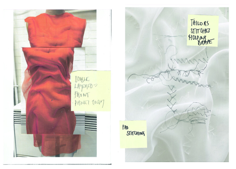 image of red dress material and white stitched material with post it notes