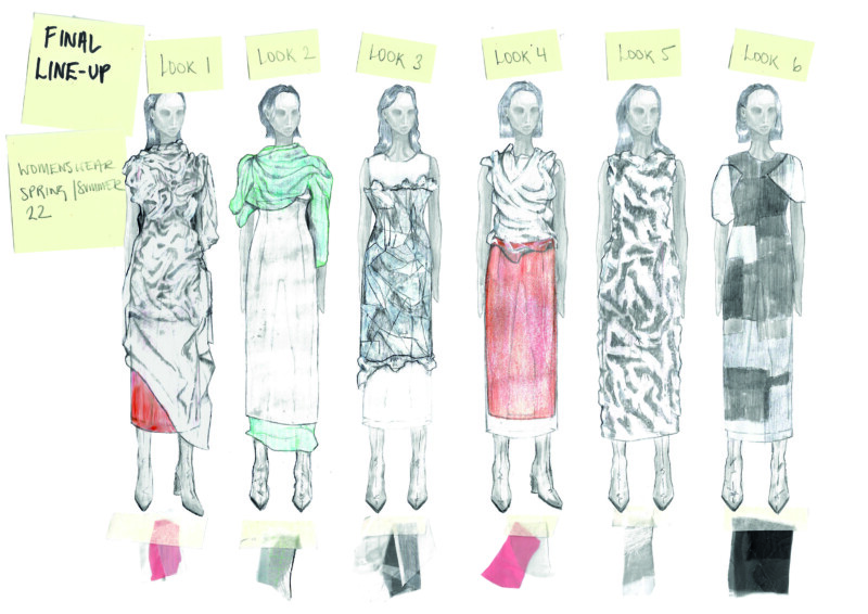 fashion illustrations with posit it note titles and material samples