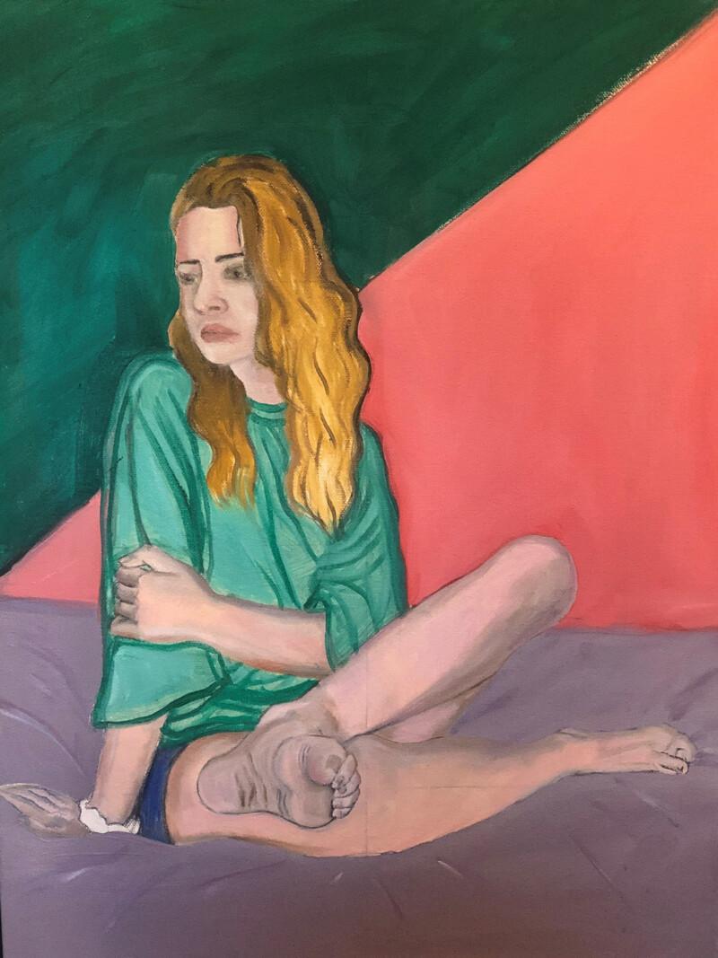 Painting of woman sitting cross legged bare foot