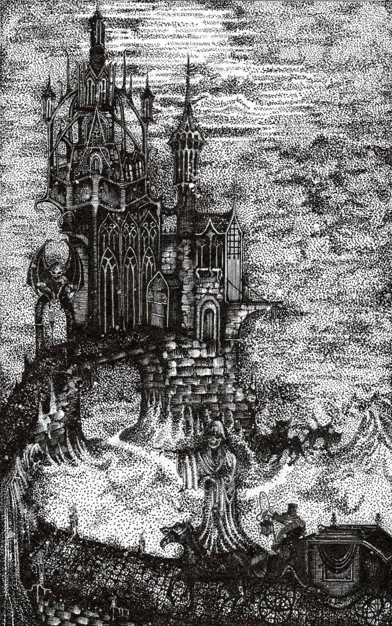 Drawing of Dracula's castle