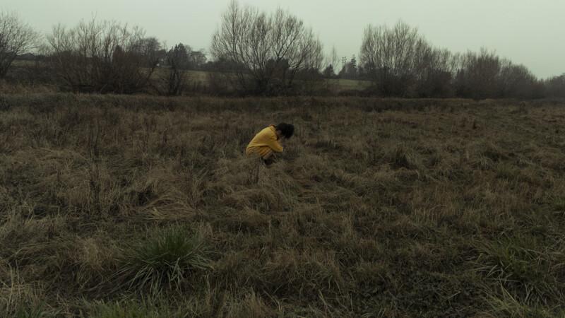 A woman alone in a field