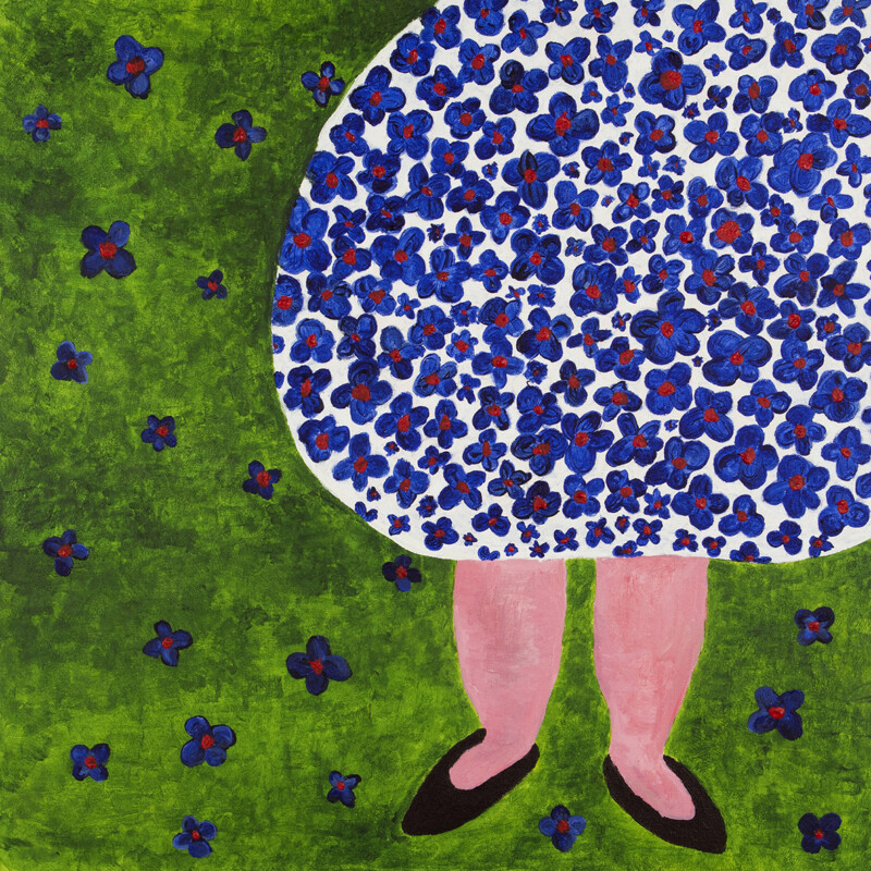 illustration of persons legs in flowery blue dress