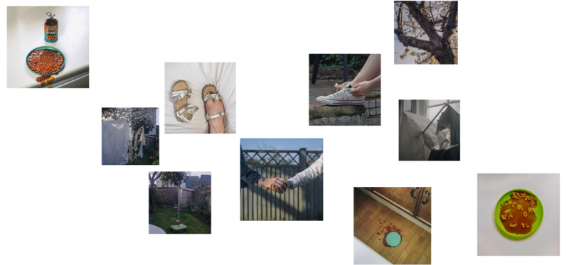 lots of small images of hands shoes and spilt beans