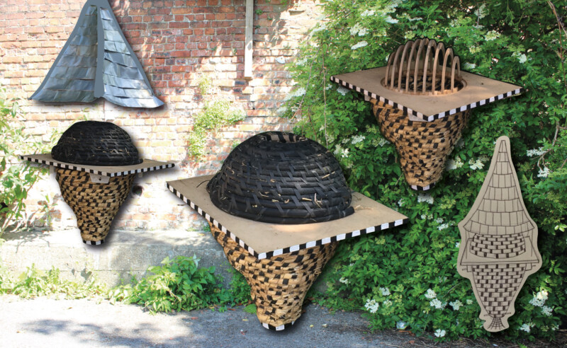 image of garden with different woven structures for bee keeping