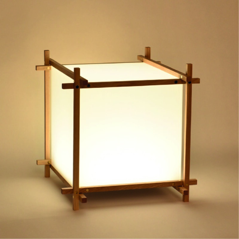 3D acrylic box lamp in wooden frame with warm white glow