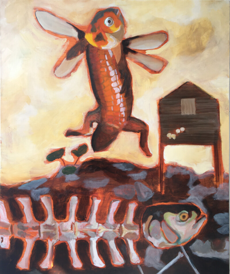 Painting of fish hybrid creature with legs and wings and a fish carcass still with head on