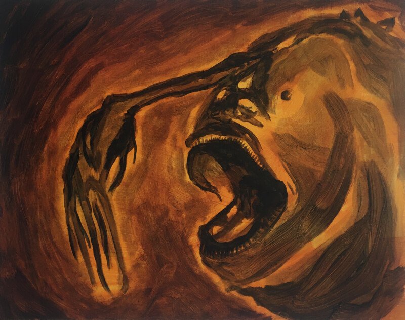 Painting of a fierce-looking fish-like creature on a brown background