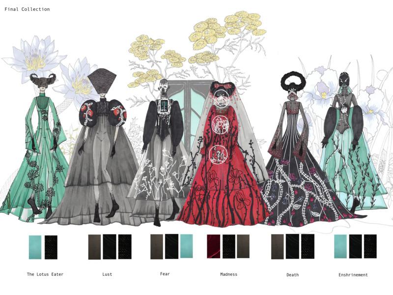 Concept illustrations of 6 dresses