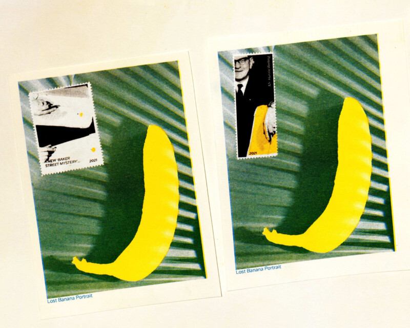 postcards of banana's on leaves with stamps