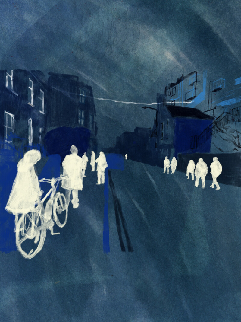 Embroidery of people and the city