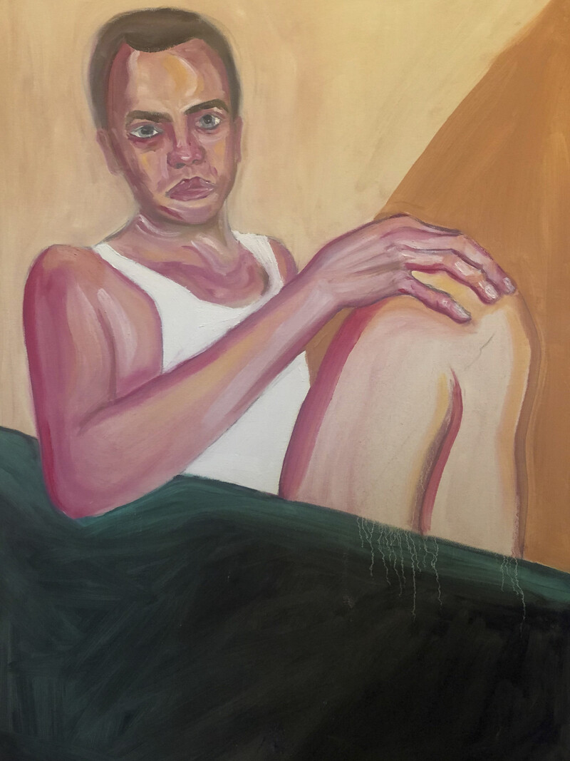 Painting of a man in a white tank top sitting
