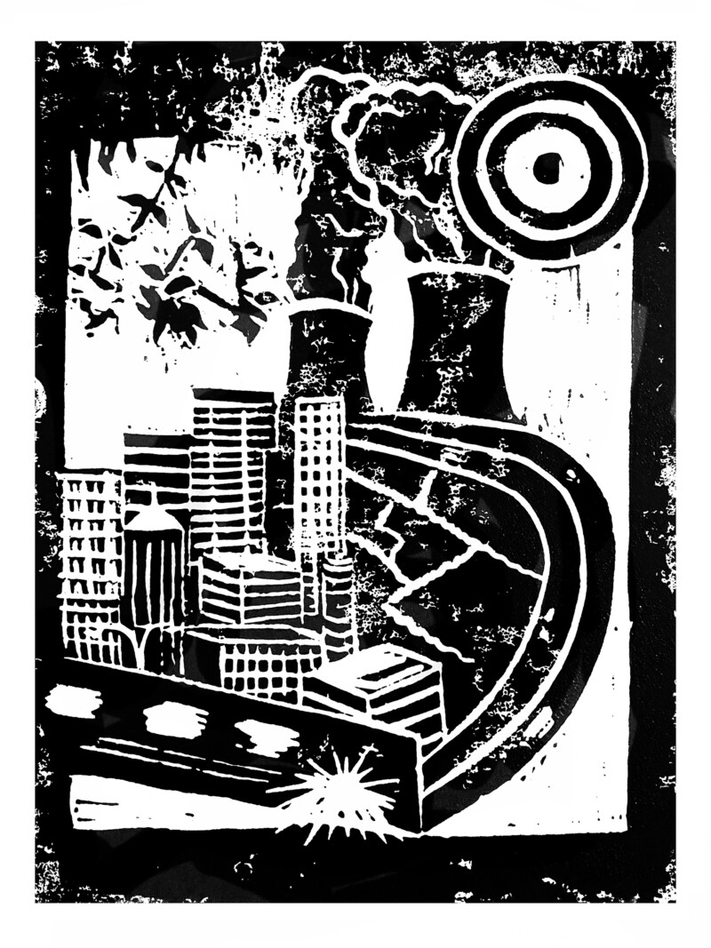 city scape linoprint