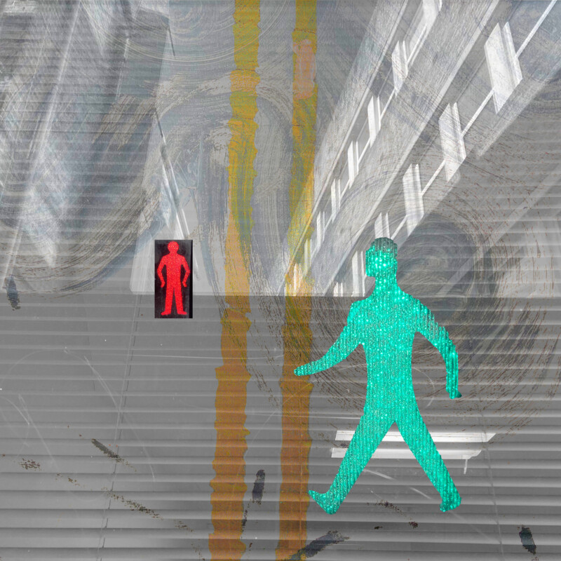 abstract digital collage of walking signs