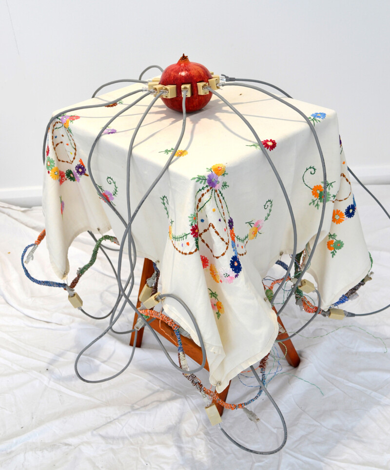 Sculpture consisting of a pomegranate, with ethernet sockets and cables inserted into it, on a small table. The table is laid with an embroidered tablecloth, depicting flowers.