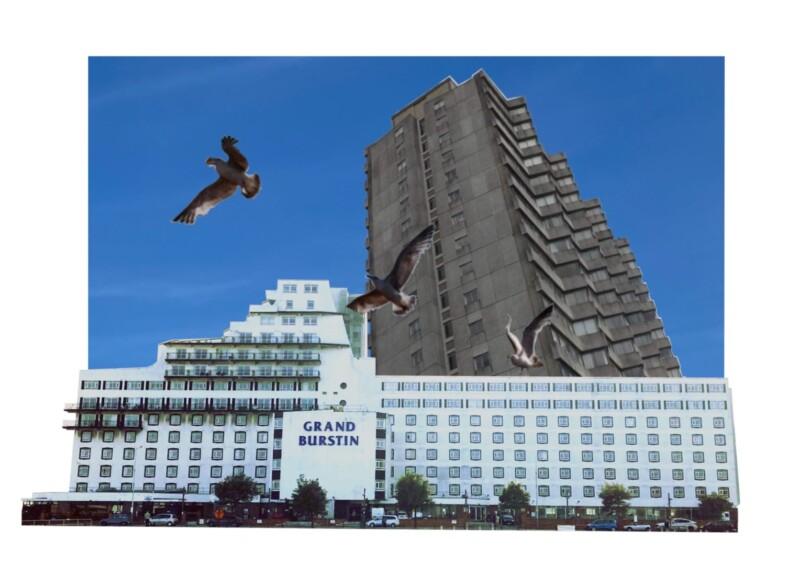 digital montage of buildings