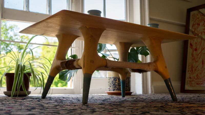 low shot of underside of table