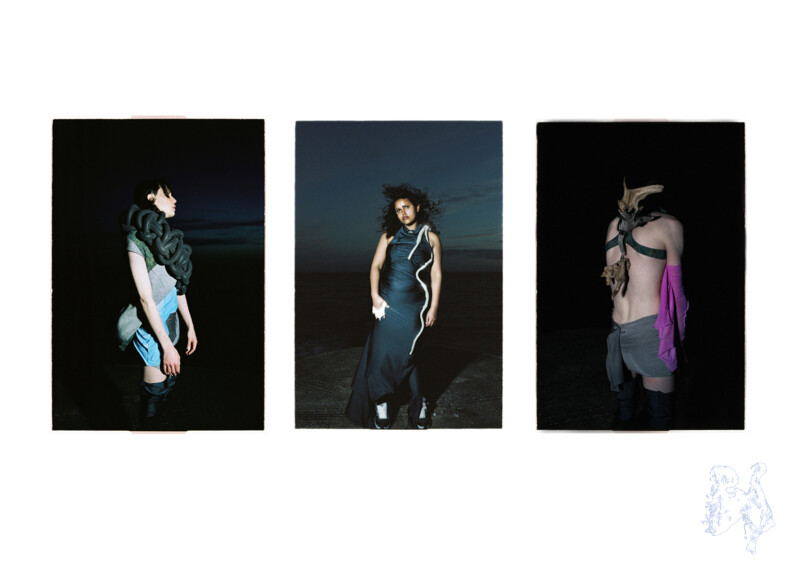 Three photos of models wearing contemporary fashion designs which incorporate driftwood and thick, woven rope-like elements.