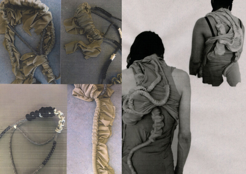 Details of contemporary fashion designs which include woven cords and bunched fabrics similar to bone-like / spinal structures.