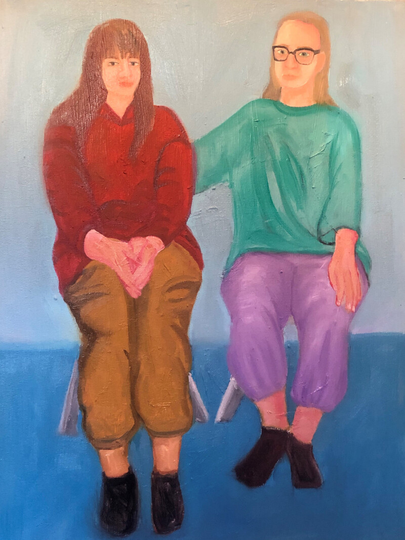 Painting of two woman sitting on stools